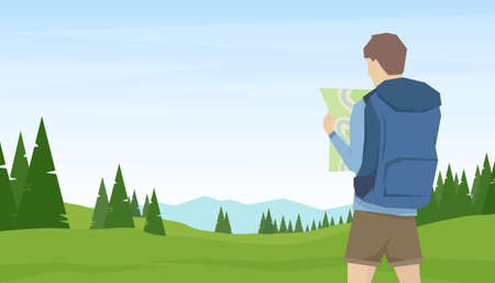 Vector illustration: on summer mountains landscape background