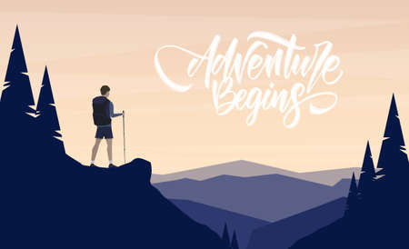 Cartoon flat landscape with character hiker on foreground and handwritten lettering of Adventure Begins. Ilustrace