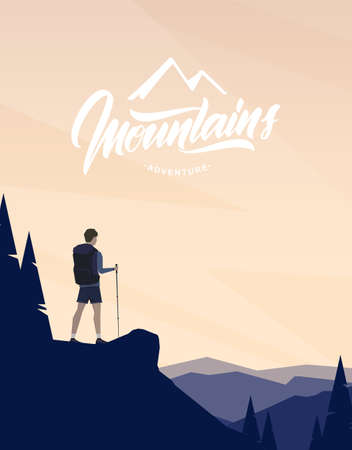 Cartoon flat landscape with character hiker on foreground and handwritten lettering of Mountains.