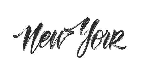 Vintage calligraphic handwritten lettering of New York.