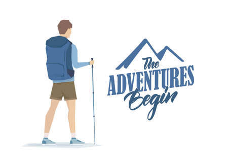 Cartoon graphic young man with backpack and trekking sticks.
