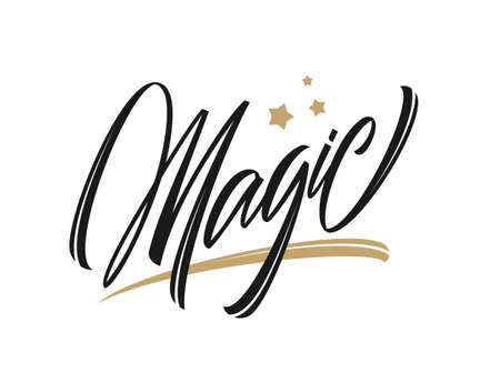 Vector illustration: Calligraphic handwritten type lettering of Magic with golden stars on white background Stock Photo