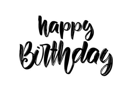 Vector illustration: Handwritten brush type lettering composition of Happy Birthday on white background. Greeting card.