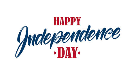 Vector illustration: Handwritten type lettering composition of Happy Independence Day. Fourth of July typographic design Иллюстрация