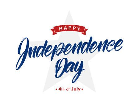 Caratteri scritti a mano di Happy Independence Day con nastro e stella. Design tipografico del quarto di luglio.