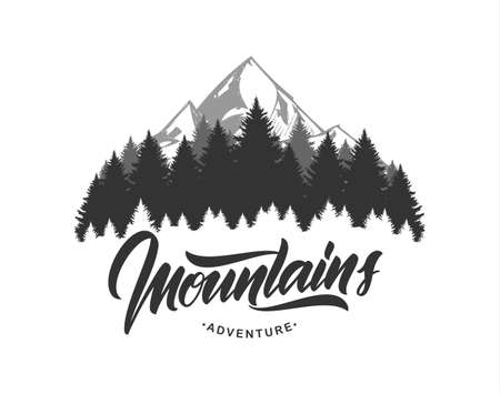 Vector illustration: Mountains emblem with handwritten type lettering. Typography design. Stock Illustratie