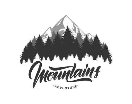 Illustrazione di vettore: emblema delle montagne con caratteri scritti a mano. Design tipografico.