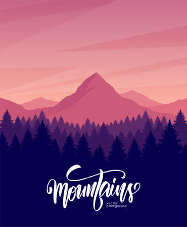 Vector illustration. Mountains dawn landscape with pine forest on foreground.