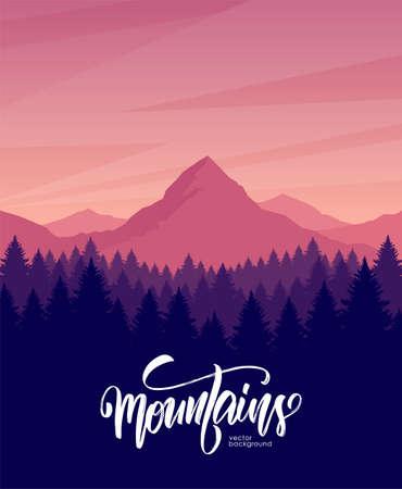 Vektorillustration. Morgendämmerungslandschaft der Berge mit Kiefernwald im Vordergrund.