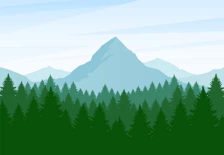 Ilustración vectorial: paisaje de montañas de verano plano con bosque de pinos y colinas