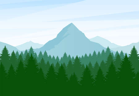 Vector illustration: Flat Summer Mountains landscape with pine forest and hills Vettoriali