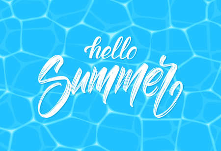 Vector illustration: Brush type lettering composition of Hello Summer on blue water background Illustration
