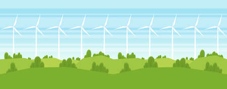 Vector illustration: Seamless Cartoon Summer landscape with Wind energy turbines. Çizim