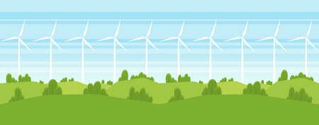 Vektorillustration: Nahtlose Karikatur-Sommerlandschaft mit Windenergieturbinen. Vektorgrafik