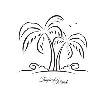 Vector illustration: Hand drawn sketch of palm trees on tropical beach