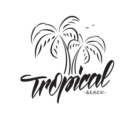 Vector lettering typography design of Tropical beach with palm trees on white background. Summer Vacation. Фото со стока