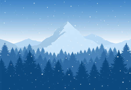 Vector illustration: Winter Mountains landscape with pine forest on foreground. Christmas background.