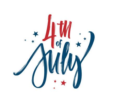 Ilustración vectorial: composición de letras a mano del feliz día de la independencia. Diseño tipográfico del 4 de julio.