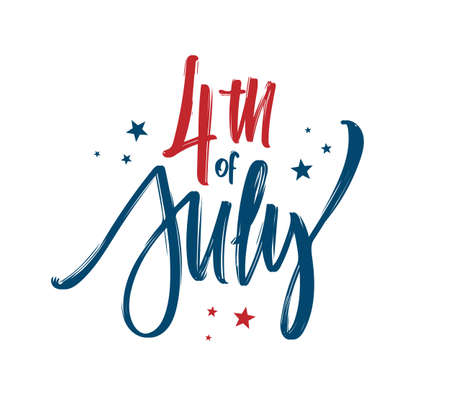Vector illustration: Hand lettering composition of Happy Independence Day. 4th of July typographic design
