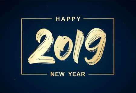 Ilustración vectorial: Letras de pincel dorado manuscritas de 2019 en marco sobre fondo oscuro. Feliz Año Nuevo