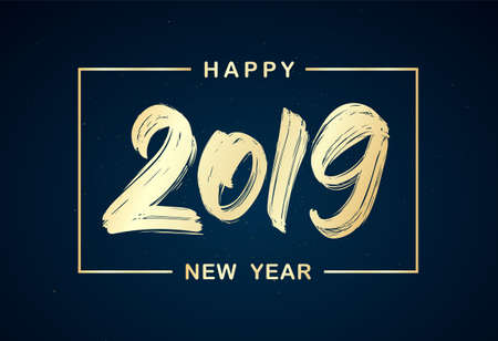 Vector illustration: Handwritten golden brush lettering of 2019 in frame on dark background. Happy New Year