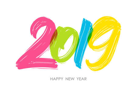 Vector illustration: Hand drawn colorful brush type lettering of 2019. Happy New Year