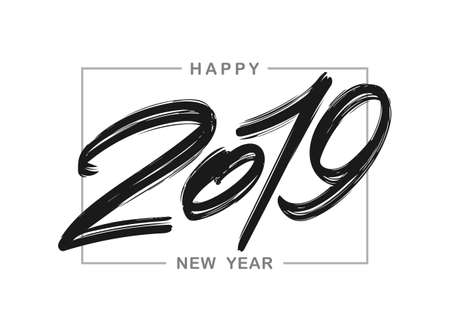 Vector illustration: Handwritten brush ink lettering of 2019 in frame. Happy New Year