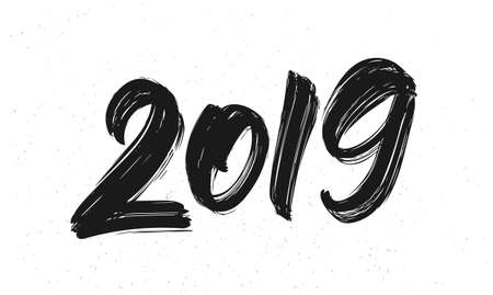 Vector illustration: Handwritten brush type lettering of 2019. Happy New Year. Chines calligraphy. Illustration