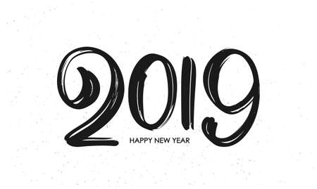 Vector illustration: Hand drawn brush type lettering of 2019. Happy New Year. Chines calligraphy.