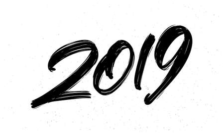 Vector illustration: Hand drawn brush ink lettering of 2019. Happy New Year. Chines calligraphy Vettoriali
