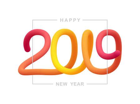 Illustration vectorielle: composition typographique liquide de voeux de bonne année 2019.