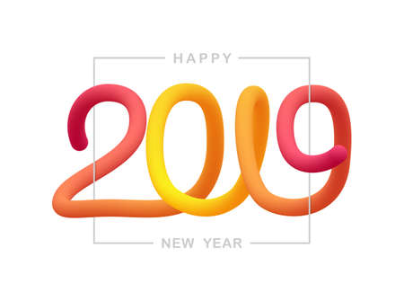 Vector illustration: Greeting liquid typographic composition of Happy New Year 2019. Ilustracja