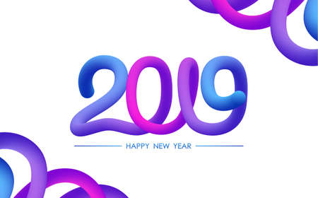 Vector illustration: Greeting card with typographic composition of Happy New Year 2019 and abstract liquid shapes.