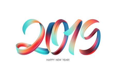 Vector illustration: Colorful Brushstroke paint lettering calligraphy of 2019 Happy New Year on white background. Stok Fotoğraf - 104228353