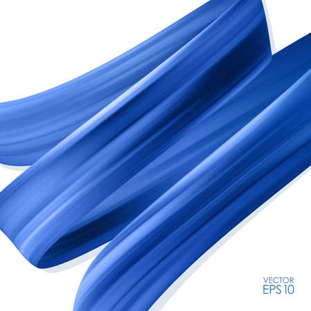 Fondo realista 3d con pintura acrílica o aceite de trazo de pincel azul. Forma de onda líquida. Diseño de moda Ilustración de vector