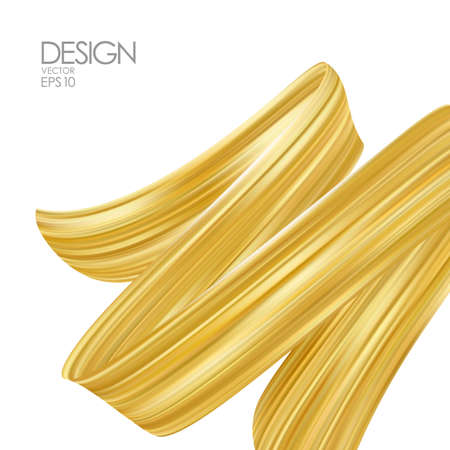 Vector illustration: 3d realistic brush stroke of Gold with Golden frame on white background. Luxury Trendy design