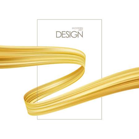 Vector illustration: Poster template with golden brush stroke or ribbon for luxury promotion. Trendy design