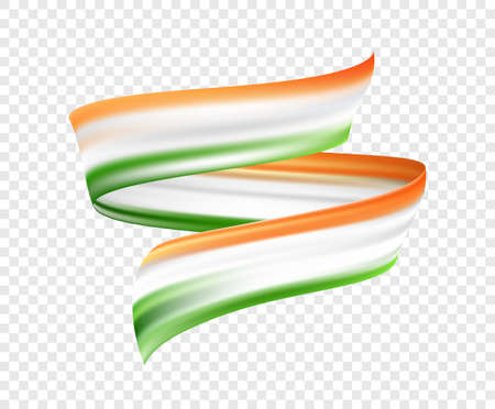 Vector illustration: Abstract brush stroke or ribbon with colors of Indian Flag. Happy Independence Day of India Ilustração