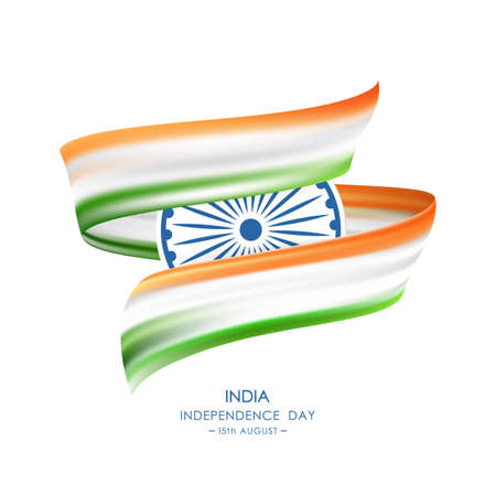 Vector illustration: Greeting card with Abstract brush stroke or ribbon with colors of Indian Flag. Happy Independence Day of India