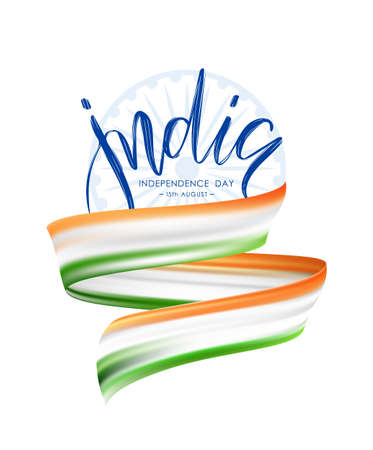 Vector illustration: Greeting poster of Happy Independence Day of India with Abstract brush stroke or ribbon with colors of Indian Flag. Vettoriali