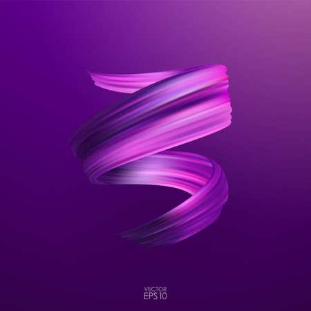 Vector illustration: 3d purple realistic brush stroke oil or acrylic paint. Wave Liquid shape. Trendy design Illustration