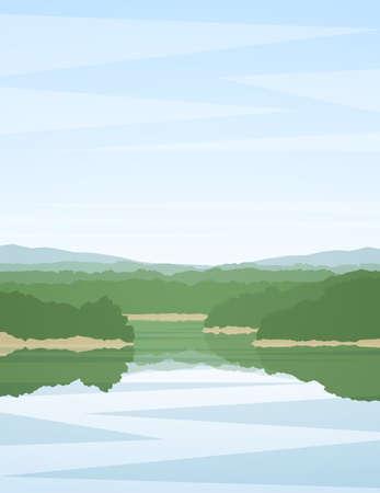 Vector illustration: Vertical summer river landscape with reflection.