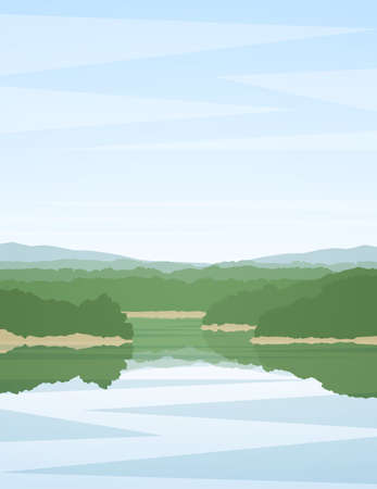 Vector illustration: Vertical summer river landscape with reflection.
