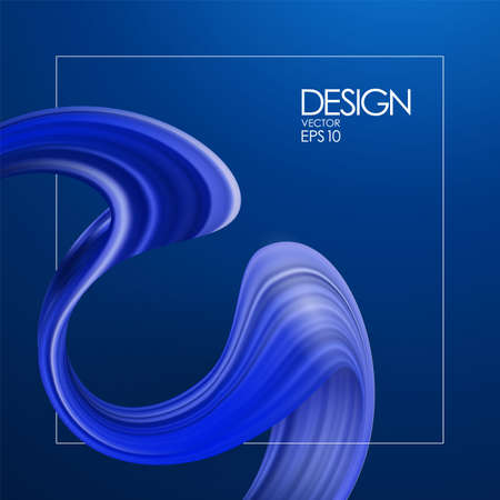 Vector illustration: 3d realistic background with blue brush stroke paint or ribbon. Wave Liquid shape. Trendy design