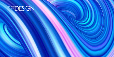 Vector illustration: Blue neon colored abstract twisted wavy liquid background. Trendy design Illustration