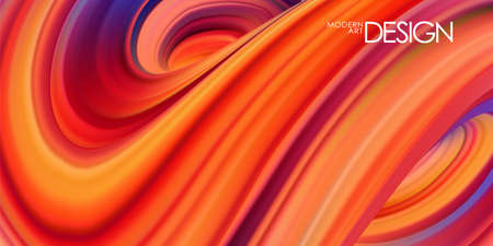 Vector illustration: Red colored abstract twisted wavy liquid background. Trendy design 스톡 콘텐츠