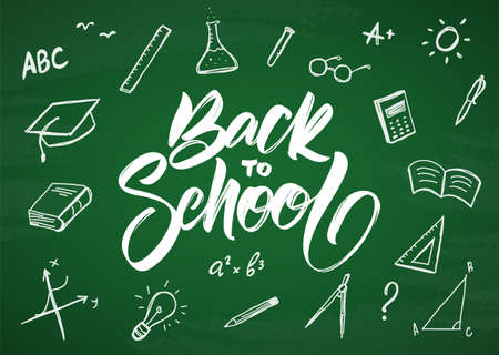 Back to School. Vector greeting card with hand drawn doddles supplies on chalkboard background Ilustração