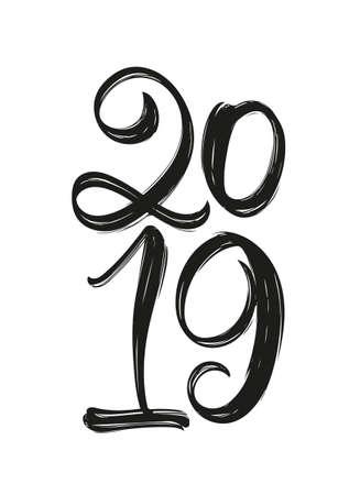 Vector illustration: Handwritten calligraphic brush lettering of 2019. Happy New Year Illustration