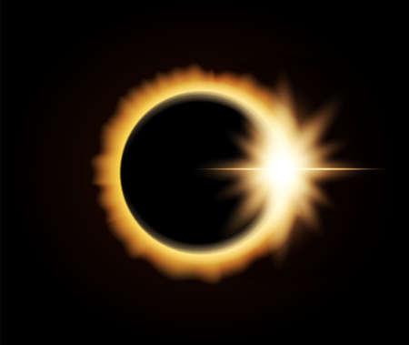Vectorillustratie: Realistische zonsverduistering op donkere ruimteachtergrond Vector Illustratie