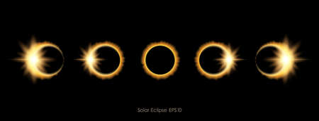 Vector illustration: Realistic Phases of solar or lunar eclipse. Vectores